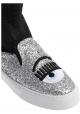 Chiara Ferragni Women's High-top sneakers in silver and black glitter fabric