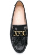 Tod's women's tassel loafer in black Leather whit clamp