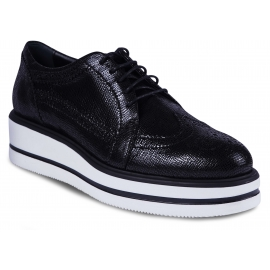 Hogan Women's lace-up shoes in black calfskin with high white rubber sole