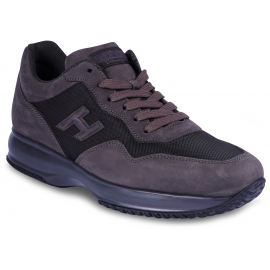 Hogan Interactive Men's fashion high top sneakers shoes in dove gray leather and fabric with logo