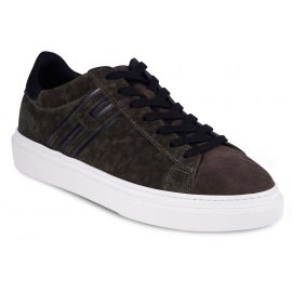 Hogan Men's fashion low top sneakers shoes in green and brown suede leather