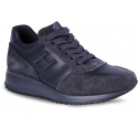 Hogan Interactive Men's high top sneakers shoes in blue gray suede and leather with logo