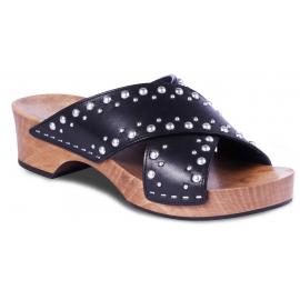 Saint Laurent Women's medium heel wooden clogs in black leather with silver studs