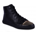 Gucci Women's fashion high top sneakers shoes in black leather with gold studs