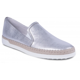 Tod's Women's slip-on round toe fashion loafers shoes in metal silver leather
