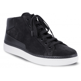 Prada Men's fashion high top sneakers shoes in dark gray suede leather