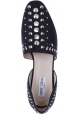 Jimmy Choo Women's fashion slip-on ballet flat shoes in black napa leather with silver studs