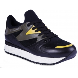 Dolce&Gabbana Men's sneakers shoes in black leather and suede with green and yellow details
