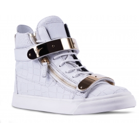 Giuseppe Zanotti Men's high top sneakers shoes in white leather with gold metal strap closure