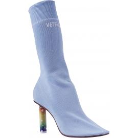 Vetements Women's sock boots in light blue cotton with lighter high heel