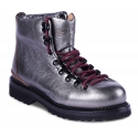 Buttero Women's lace-up ankle boots in metallic gray leather with burgundy laces