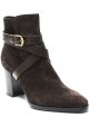 Tod's Women's heeled ankle boots in dark brown suede leather with buckle ankle strap