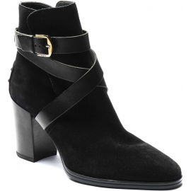 Tod's Women's heeled ankle boots in black suede leather with crossed ankle strap