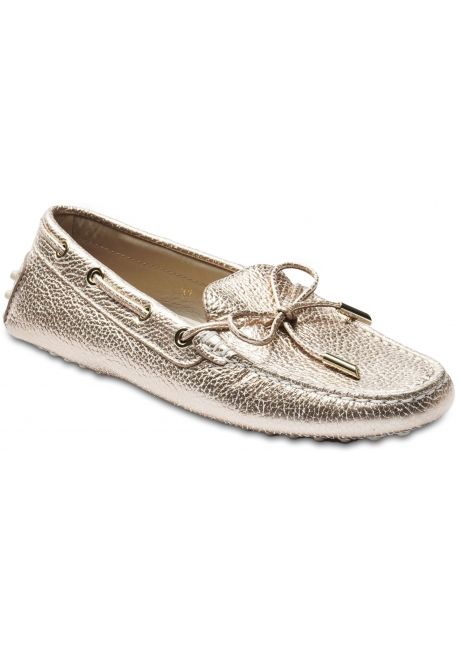 Tod's Women's slip-on loafers in pink gold metallic leather with laces