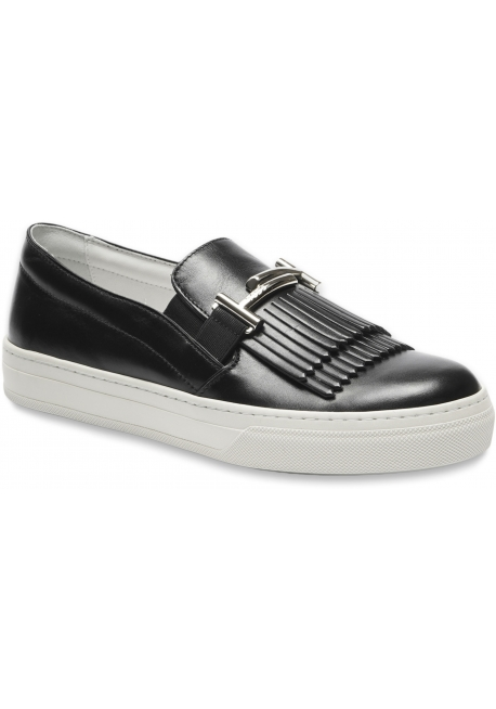 Tod's Women's slip-on sneakers shoes in black leather with fringes and double T