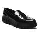 Tod's Women's loafers shoes in black and burgundy leather with high sole