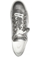 Tod's Women's fashion low top sneakers shoes in silver laminated leather with tassels