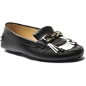 Tod's women's slip-on bit loafers shoes in black leather with fringes
