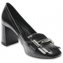 Tod's Women's heeled pumps shoes in black leather with fringe and double T