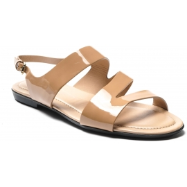 Tod's Women's low top sandals in nude patent leather with buckle closure