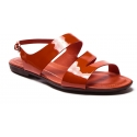 Tod's Women's flat sandals in paprika red patent leather with buckle closure