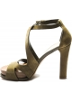 Tod's Women's high heel sandals in khaki suede with leather platform