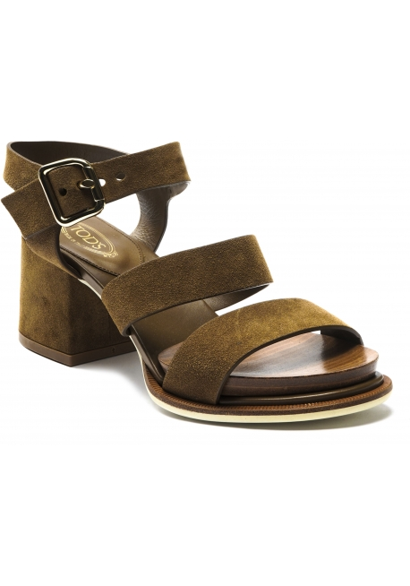 Tod's Women's sandals with square heel in tobacco suede leather with buckle