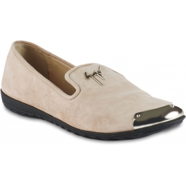Giuseppe Zanotti Women's slip-on loafers shoes in nude suede leather with metal cap toe