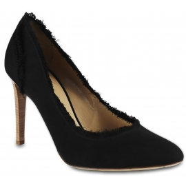 Giuseppe Zanotti Women's high heels pumps shoes in black suede leather with fringes