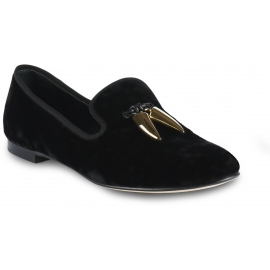 Giuseppe Zanotti Women's slip-on loafers shoes in black velvet with metal tassel