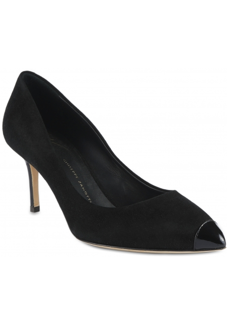 Giuseppe Zanotti Women's pumps shoes in black velvet with patent leather heel and toe