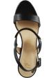 Giuseppe Zanotti Women's high wedge sandlas in matte black leather with buckle closure