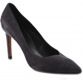 Santoni Women's high heels pointed toe pumps shoes in gray suede leather
