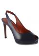 Santoni Women's high heels slingback peep toe sandals in navy blue leather