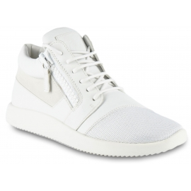 Giuseppe Zanotti women's high sneakers with zip closure in white leather and gold details