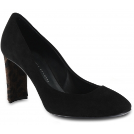 Giuseppe Zanotti Woman's pumps shoes in black suede leather with leopard-print heel