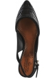 Santoni Women's pointed toe slingback pumps shoes in black suede leather with laser cut