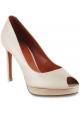 Santoni Women's high heels peep toe pumps shoes in powder pink leather