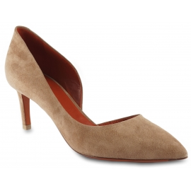 Santoni Women's cut-out pointed toe pumps shoes in powder pink suede leather