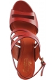 Santoni Women's heeled sandals with bands in red leather with ankle strap closure