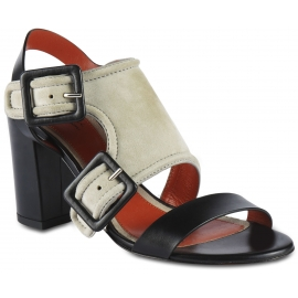 Santoni Women's heeled sandals in gray and black suede leather with buckles