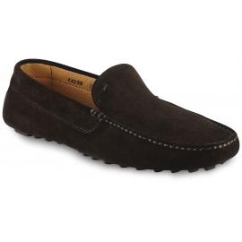 Santoni Men's slip-on loafers shoes in chocolat velvet with square toe