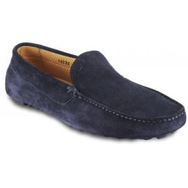 Santoni Men's slip-on loafers shoes in blue velvet with square toe