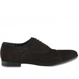 Santoni Men's formal round toe lace-ups oxford shoes in brown velvet