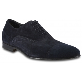 Santoni Men's formal round toe lace-ups oxford shoes in blue velvet