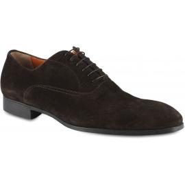 Santoni Men's rounded toe oxfords lace-up shoes in brown velvet