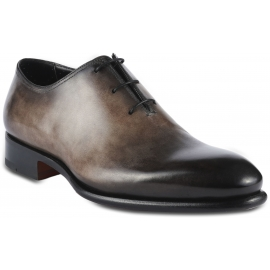 Santoni Men's rounded toe oxfords lace-up shoes in taupe leather