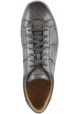 Santoni Men's sneakers in gray leather with laces closure