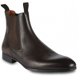 Santoni Men's ankle boots in brown leather with side elastic bands