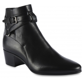 Saint Laurent Women's rounded toe ankle boots in black leather with buckles and heel